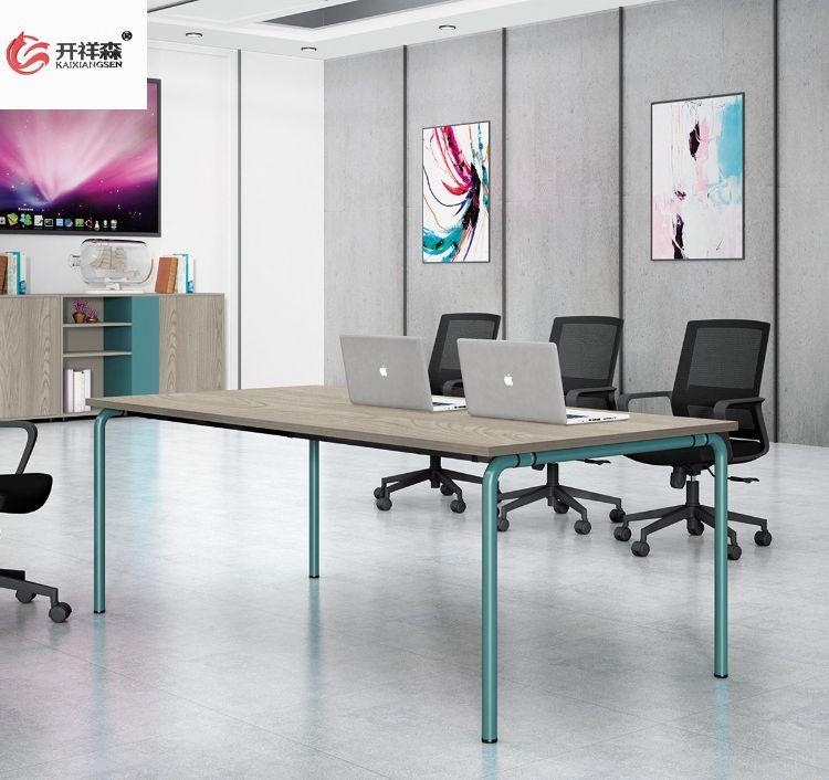 小型会议桌现代简约 钢架坂木接待桌 办公家具洽谈桌会议室