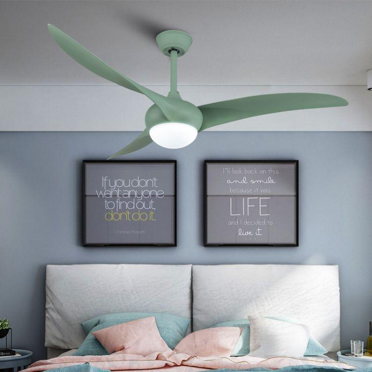 现代北欧客厅风扇灯马卡龙吊扇灯简约变频电扇灯遥控LED三叶吊扇