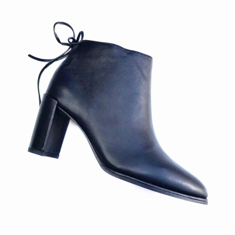 皮靴女 秋冬女鞋2018新款 系带粗高跟 马丁靴 真皮女短靴子
