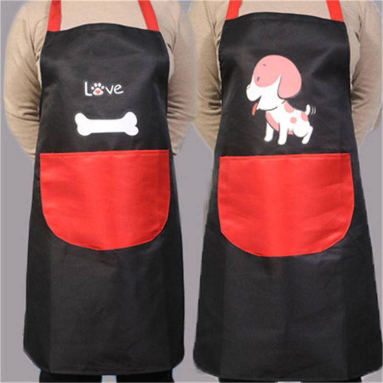小狗骨头卡通家用厨房围裙女士做饭防水防油成人吊带型一件代发