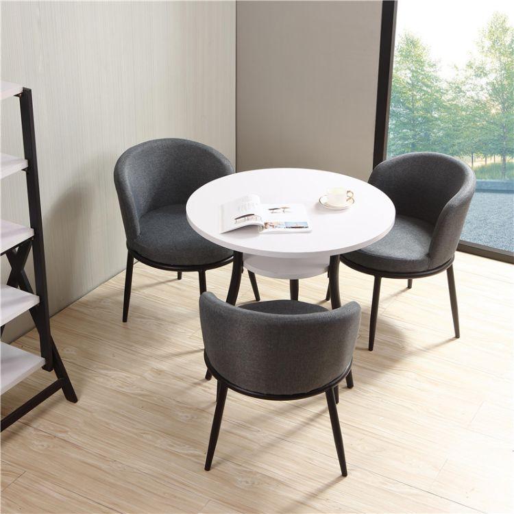 小会客桌 接待桌椅组合休息区轻奢小洽谈桌 小圆餐桌椅会议桌碧江家具