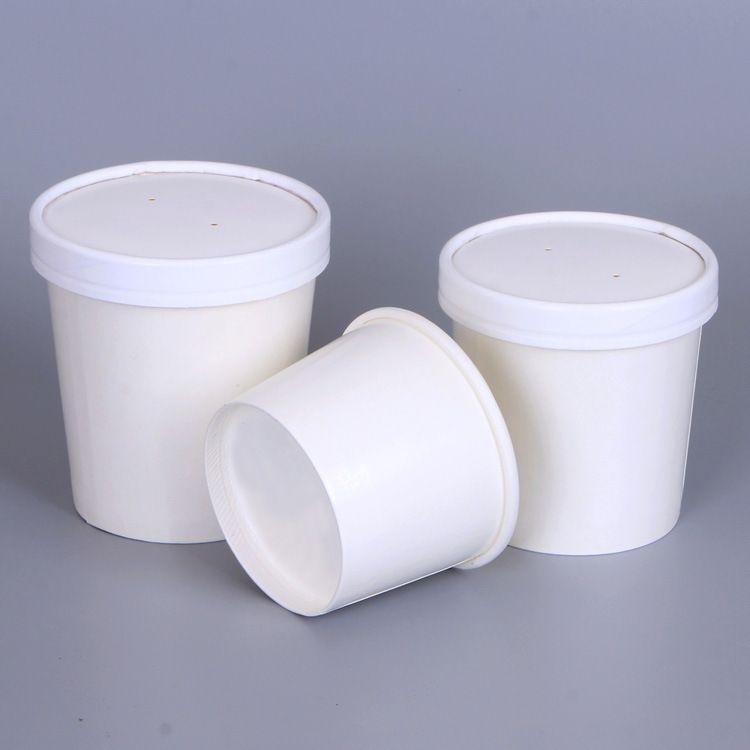 定制16oz白色牛皮纸汤桶 加厚一次性480ML汤杯甜品打包汤碗批现货