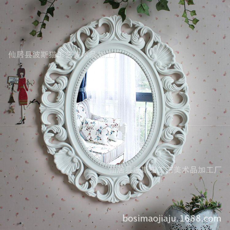 厂家直销欧式复古椭圆镜壁挂 化妆镜 浴室镜卫生间镜子防水新款