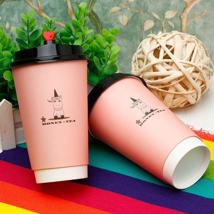 奶茶杯一次性纸杯定做外卖纸杯打包外带批发定制LOGO一次性咖啡杯