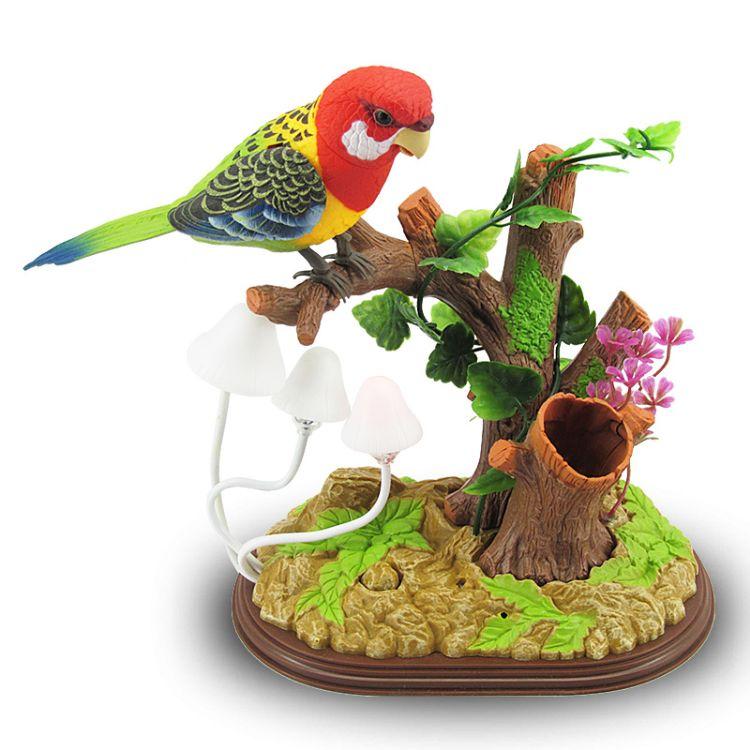 新奇特唱歌跳舞声控鸟 儿童仿真鸟电动感应鸟 夜市地摊玩具热卖