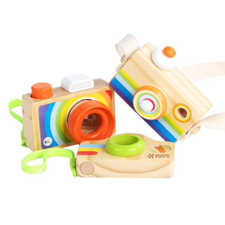 木制蜂眼多棱镜万花筒儿童益智早教玩具过家家创意仿真单反照相机