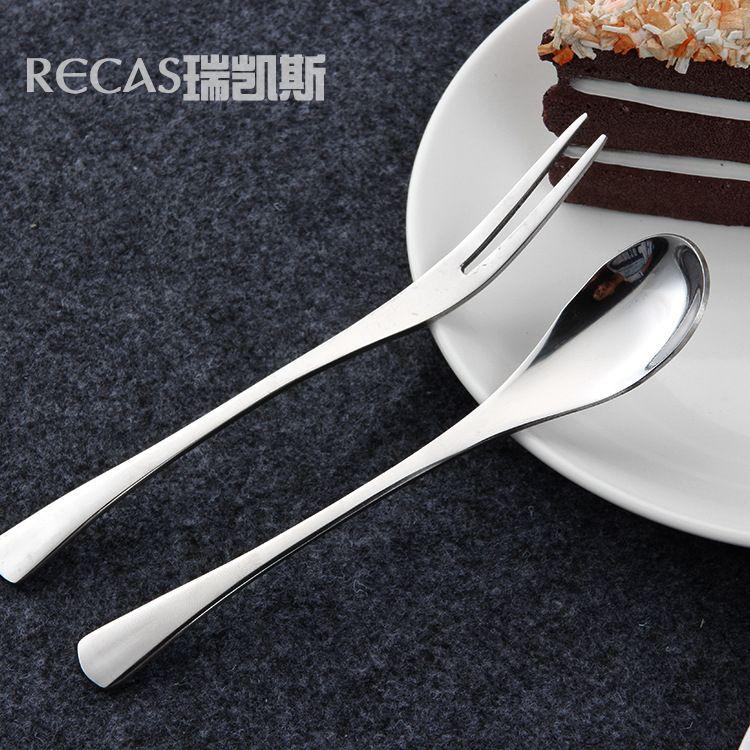 韩式不锈钢咖啡勺 简约镜面光 创意两齿水果签甜品叉 居家餐具