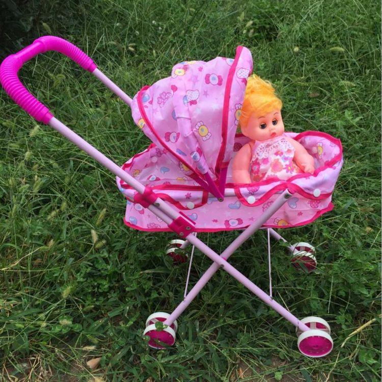 宝宝铁杆手推车玩具娃娃学步车过家家购物车带遮阳可平躺洋娃娃
