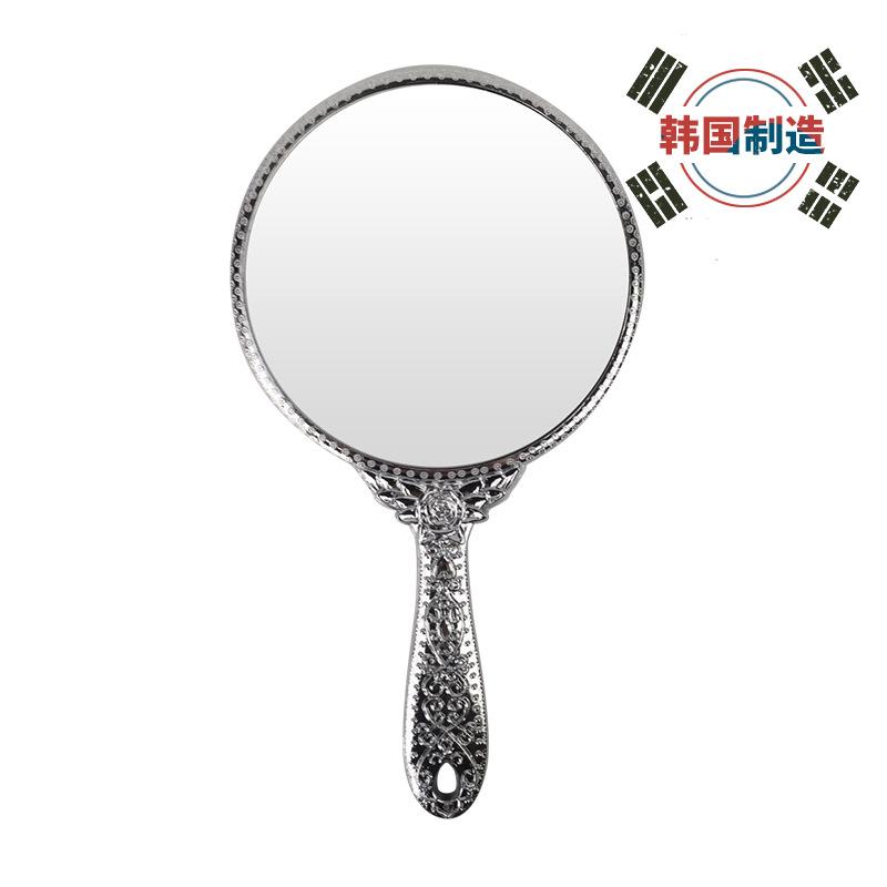 韩国进口公主镜 简约欧式美容化妆镜 便携小镜子随身手柄镜子大号