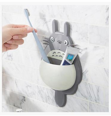 创意可爱龙猫牙刷架强力吸盘牙刷牙膏收纳置物架浴室吸壁式牙具座
