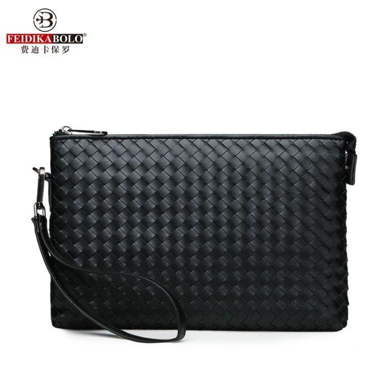厂家直销2018新款男士包袋手拿包超纤合成革手挽编织包一件代发