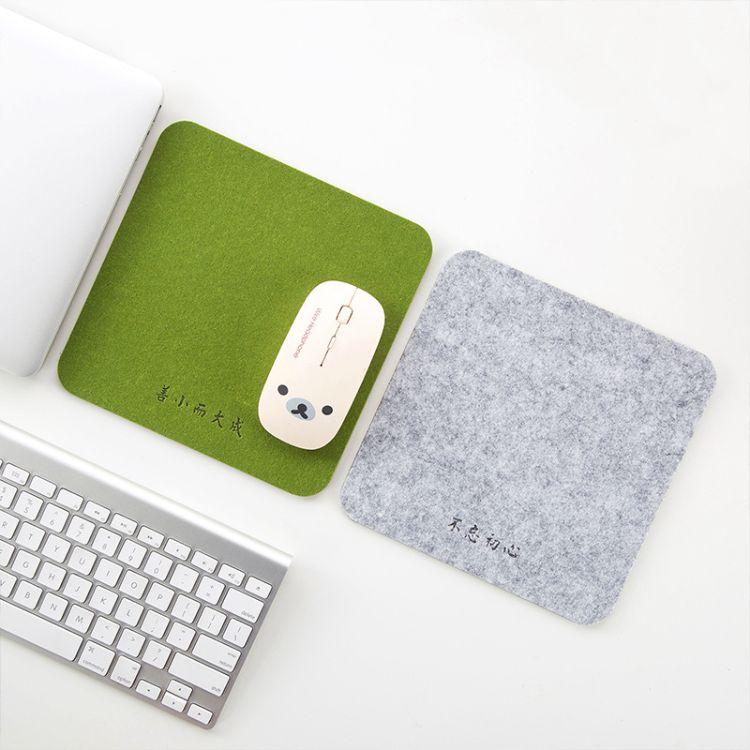 批发毛毡鼠标垫 小号加厚办公电脑桌垫可定制logo广告创意鼠标垫