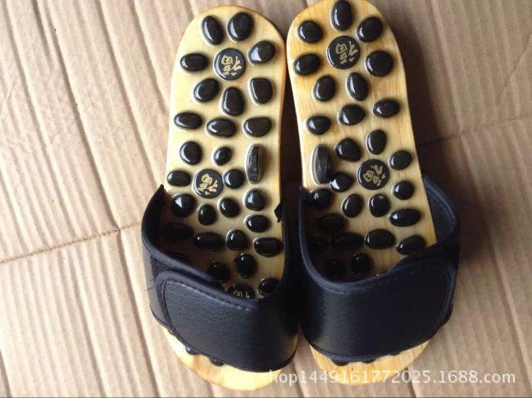 足健宝鹅卵石 火山石 玛瑙石 玉石磁疗穴位足底按摩拖鞋可定制