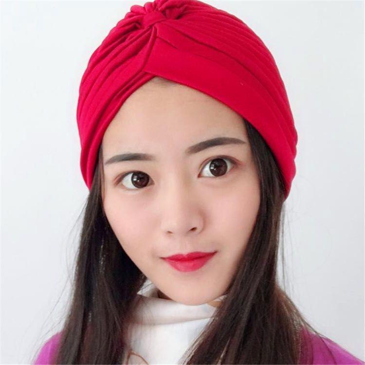 穆斯林女士头巾 纯色印度帽 包头帽 男女护耳帽 头巾帽 Turban