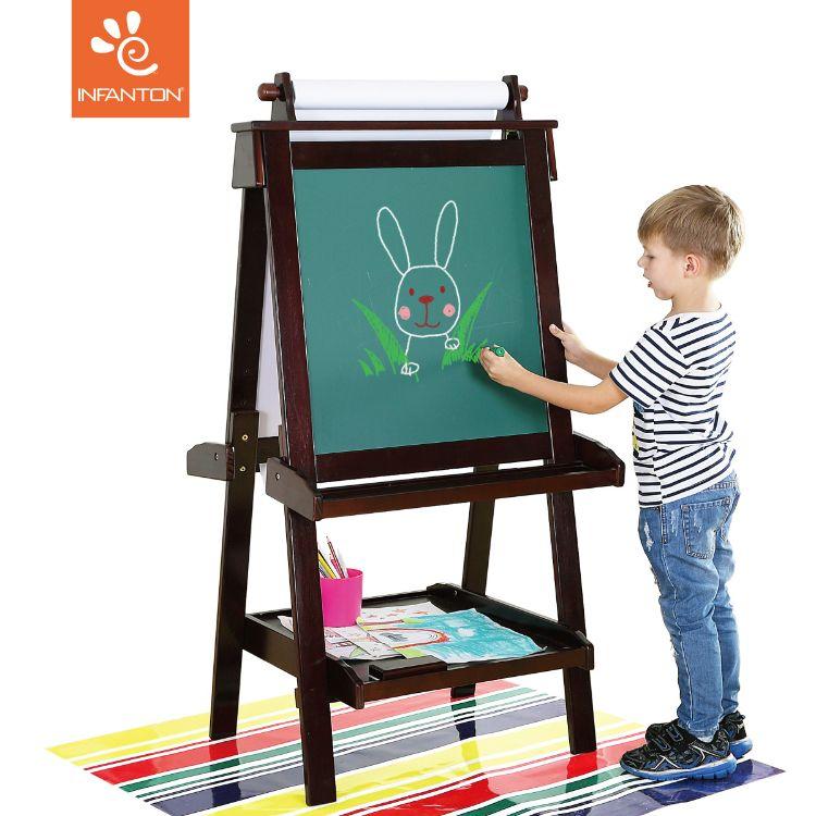 14E实木儿童画板可升降画架双面磁性  小黑板支架式画画板写字板
