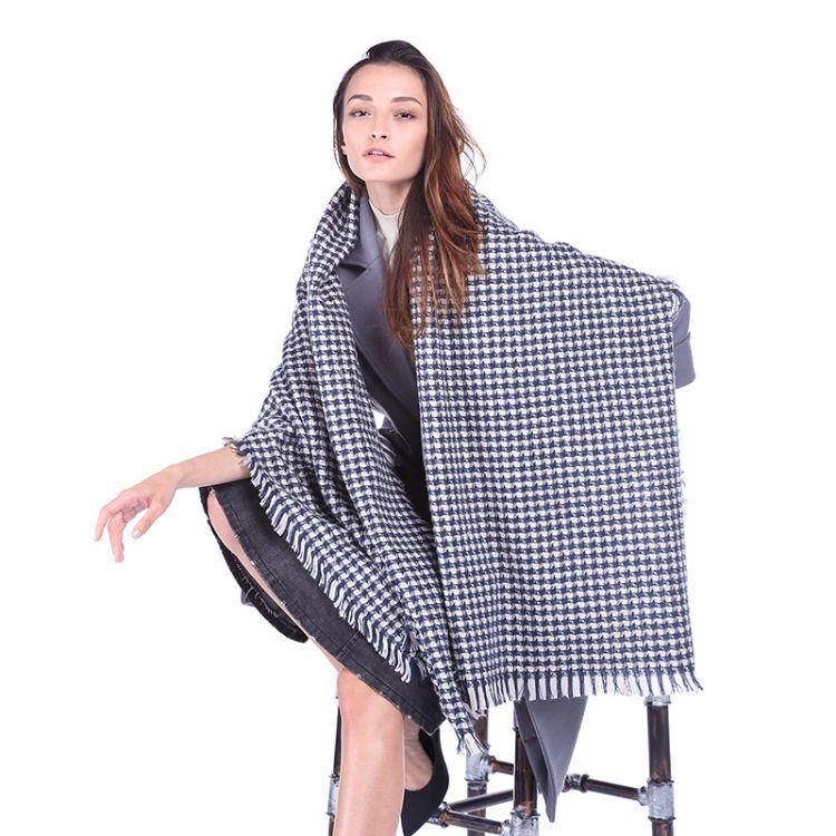 速卖通格子女士长巾时尚保暖舒适流苏披肩时尚多功能空调披肩批发