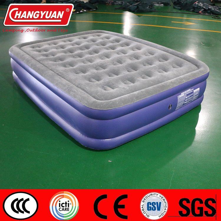 植绒PVC充气双人床垫 充气三层高床 双人床垫厂家