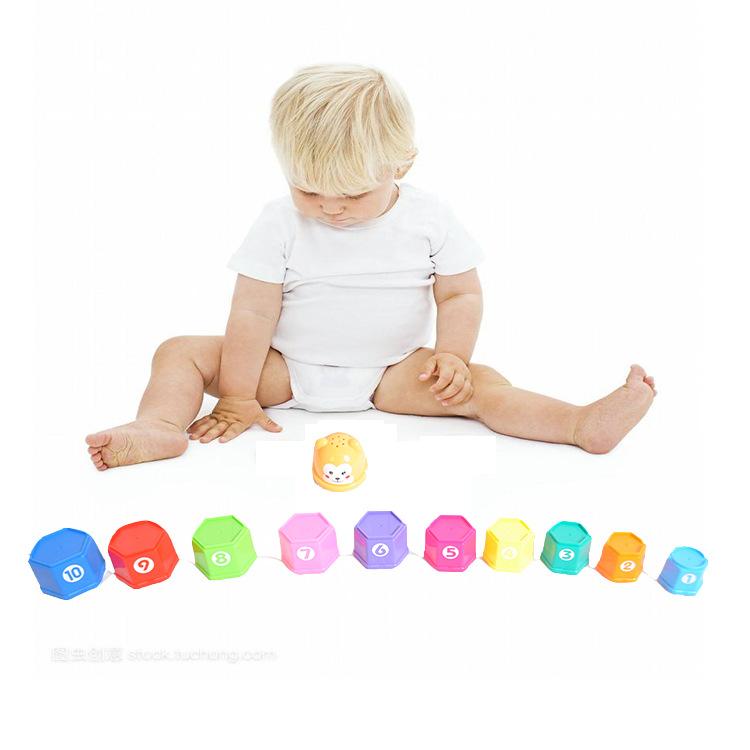 婴幼儿六角形沙滩字母数字摇铃叠叠乐益智早教0-1岁男孩女孩玩具