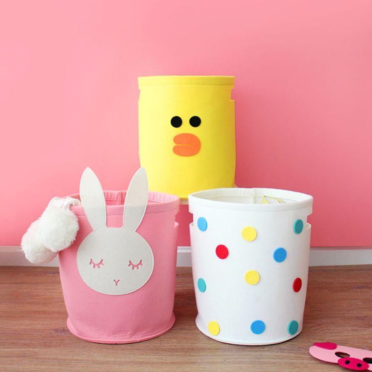 出口设计家居收纳桶脏衣篮儿童卡通图案彩色毛毡收纳箱杂物筐