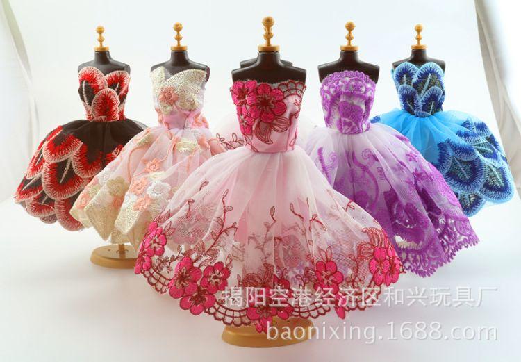 车载芭洋娃娃衣服套装刺绣短裙蕾丝圆形换装小洋裙女孩比玩具