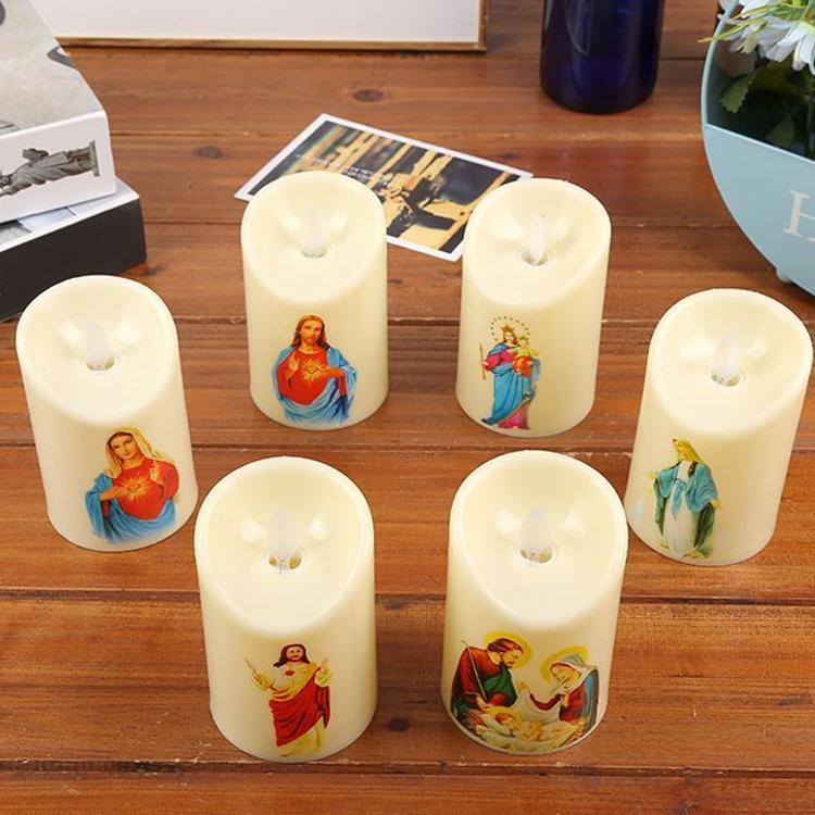 批发电子蜡烛基督教LED发光蜡烛货源实力厂家摇摆蜡6.8*10.5