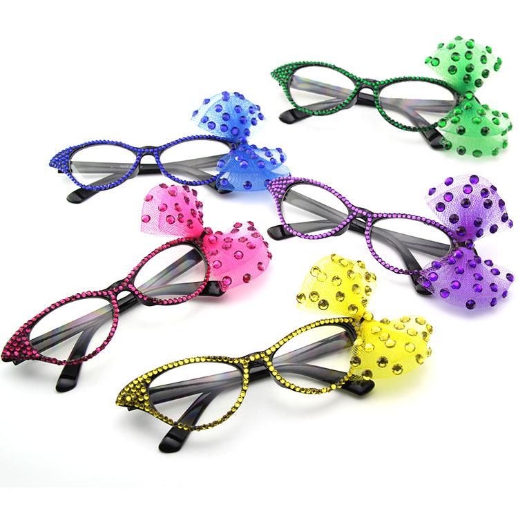 化妆舞会派对眼镜 节日搞怪墨镜 蝴蝶结太阳镜 贴钻猫眼平光镜