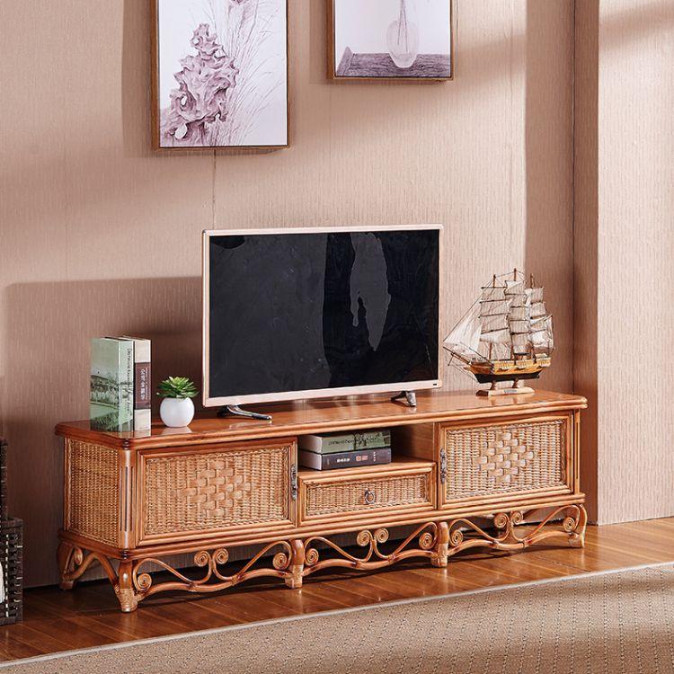真藤编织电视柜酒店客厅卧室中式真藤艺实木电视柜组合藤木家具