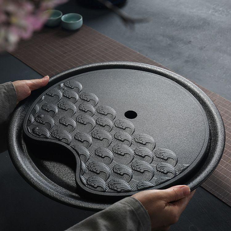 禅风黑陶茶盘圆形干泡盘茶道功夫粗陶储水式托盘茶台 陶瓷圆盘
