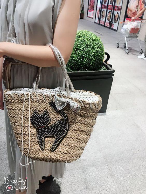 三菱草手提包 卡通猫单肩包 波西尼亚风格草编包 时尚休闲度假包