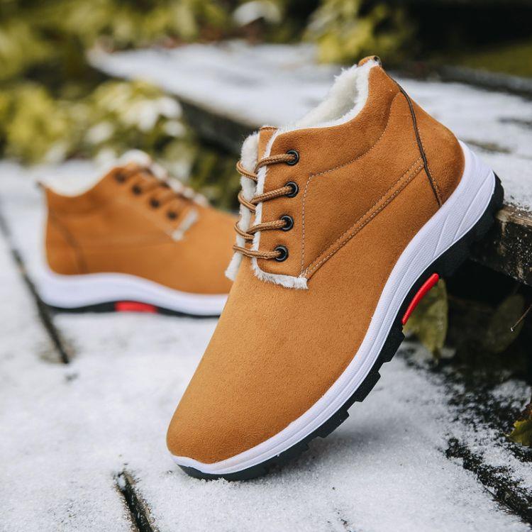 新款登山户外雪地靴加绒加厚高帮棉鞋保暖舒适中老年爸爸鞋