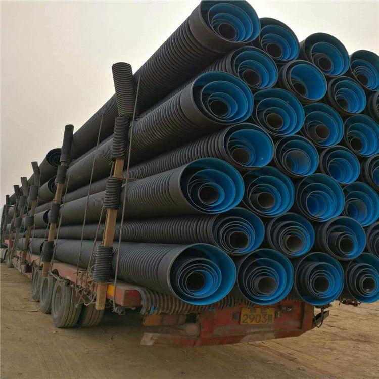 现货直销PE双壁波纹管  临淄HDPE双壁波纹管厂家报价  市政排污管道