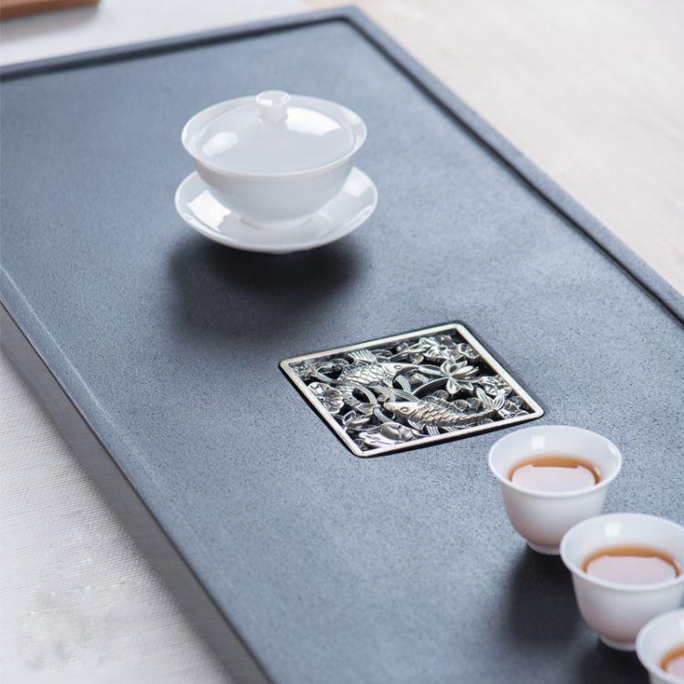 天然乌金石茶盘家用简约功夫茶具茶海黑金石头天然石材茶台茶托