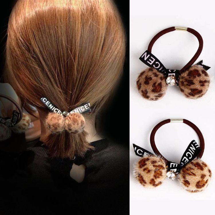 豹纹头绳女新款成人2018时尚少女毛绒扎头发百搭成人发圈厂家批发
