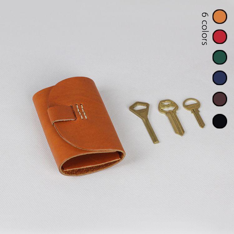 17新款 手工钥匙包 头层牛皮 日式真皮缝线钥匙排 工厂直销X5045