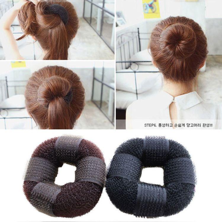 新款热卖丸子头花苞头发垫魔术自粘甜甜圈美发工具盘发器厂家饰品