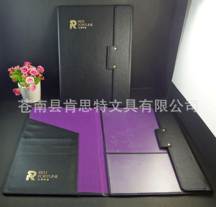 烫哑金logo黑色荔枝纹皮革文件夹A4 韩国风格精美办公资料夹