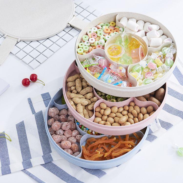 厂家直销新年糖果盘 小麦秸秆家用分格收纳盒 带盖干果盒一件代发