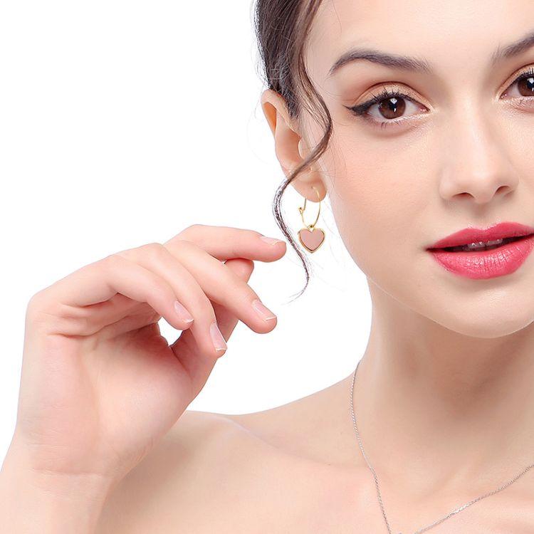 S925純銀時尚女士pu耳環2018愛心桃形earrings少女心耳飾流蘇耳環