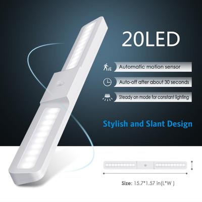 20灯LED充电式小夜灯人体感应衣柜灯光控感应橱柜灯便捷式小夜灯