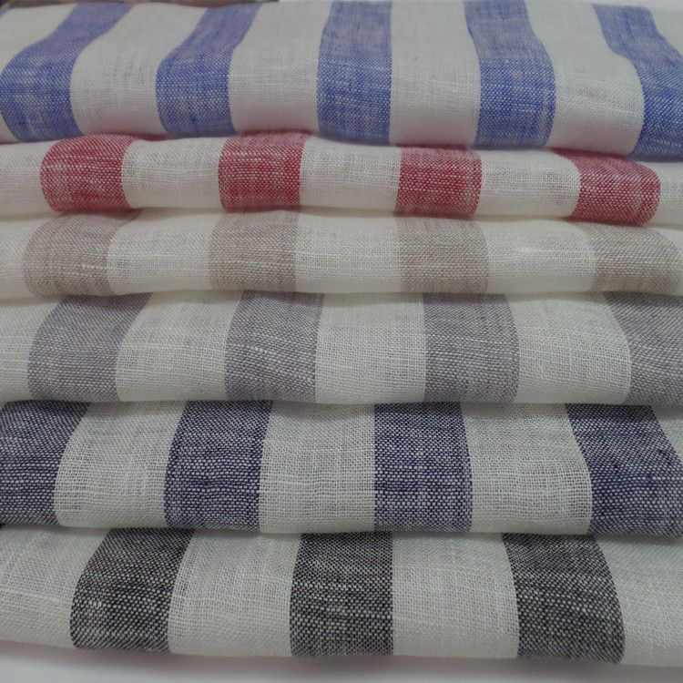 纯亚麻面料 纯麻色织条纹布 网布竹节麻 春夏面料 广州阿里纺织