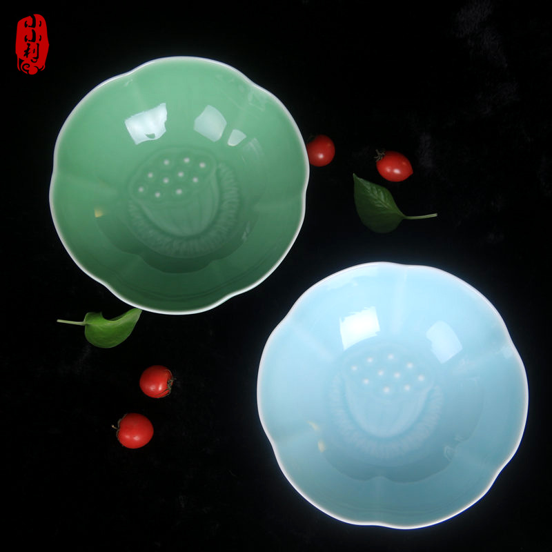 龙泉青瓷8英寸莲花汤碗面碗陶瓷大号碗微波炉餐具拉面碗正品