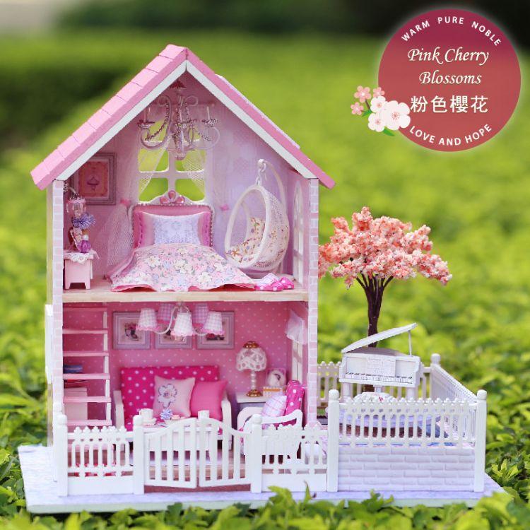 智趣屋diy小屋粉色樱花手工拼装模型房子创意送女生闺蜜生日礼物