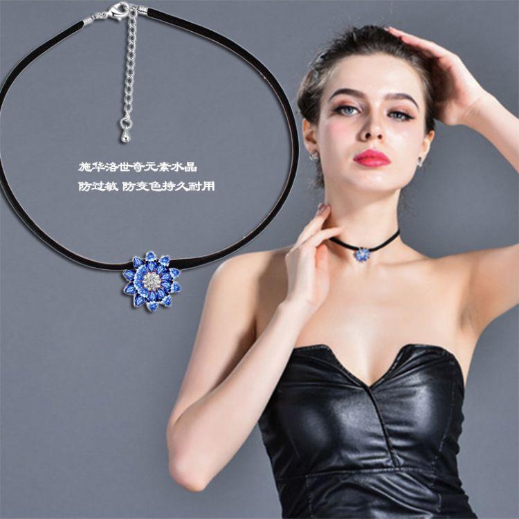 韩版流行蕾丝苏项链女短款锁骨链春夏时尚脖子链颈带百搭装饰品