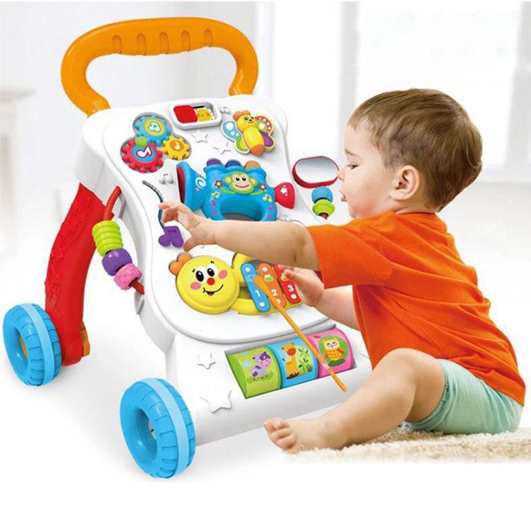 小贝熊学步车婴儿手推车宝宝多功能可调速助步车防侧翻带音乐玩具