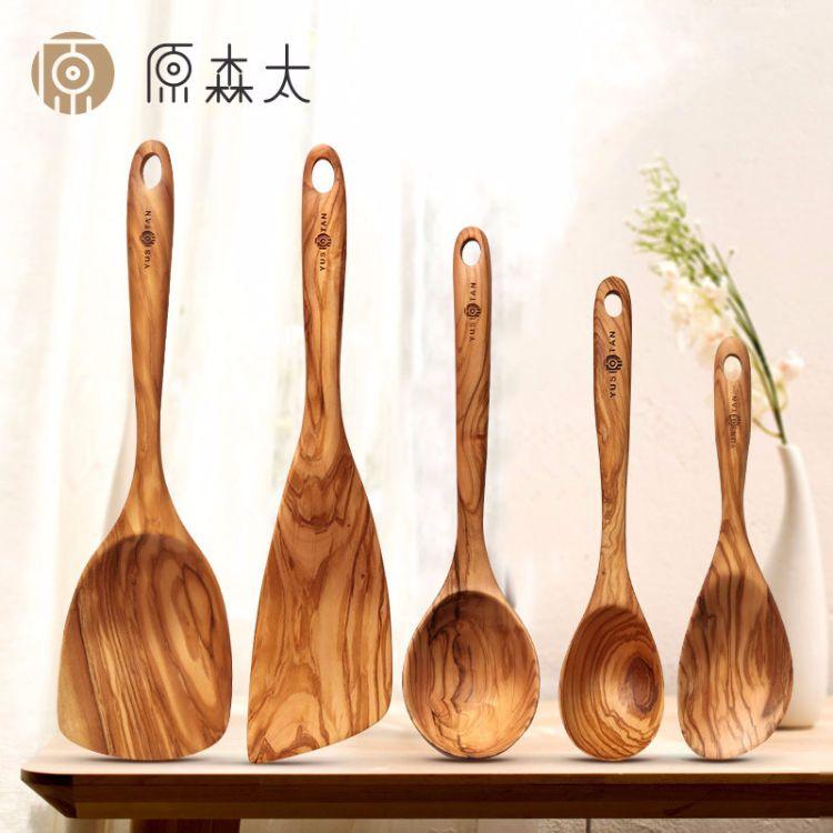 厨房专用木质长柄加厚不粘锅炒菜铲子橄榄木炒铲锅铲大汤勺批发