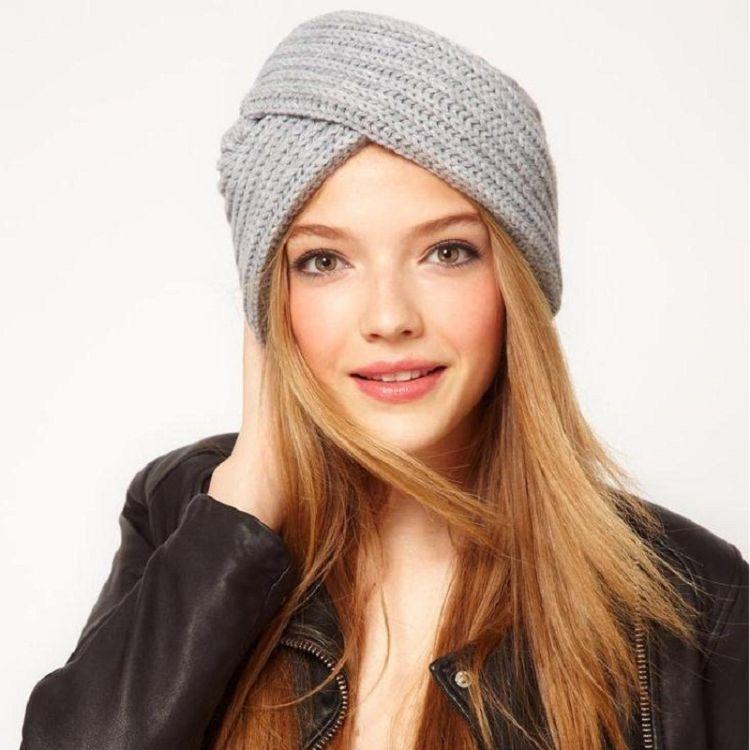 欧美波西米亚仿羊绒毛线针织穆斯林帽子头套印度帽交叉包头帽冬