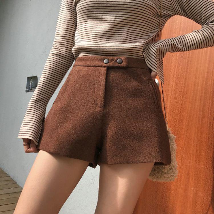【匠匠】高腰毛呢阔腿裤女2018秋冬韩版复古A字打底靴裤女