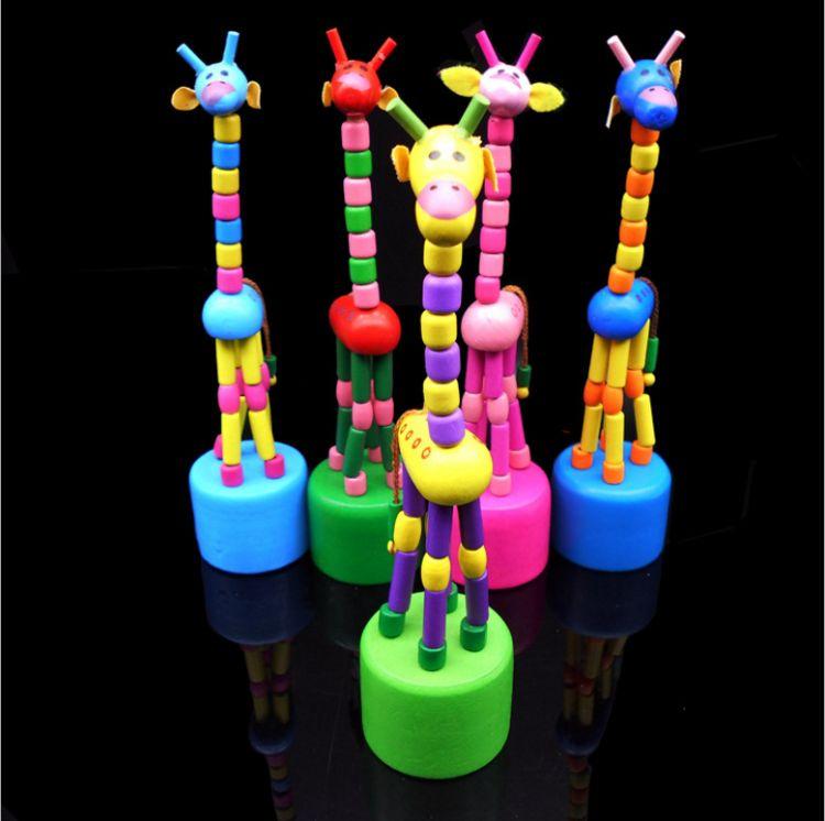 木制长颈鹿玩具仿真动物木偶公仔卡通益智儿童幼儿园小学生礼品