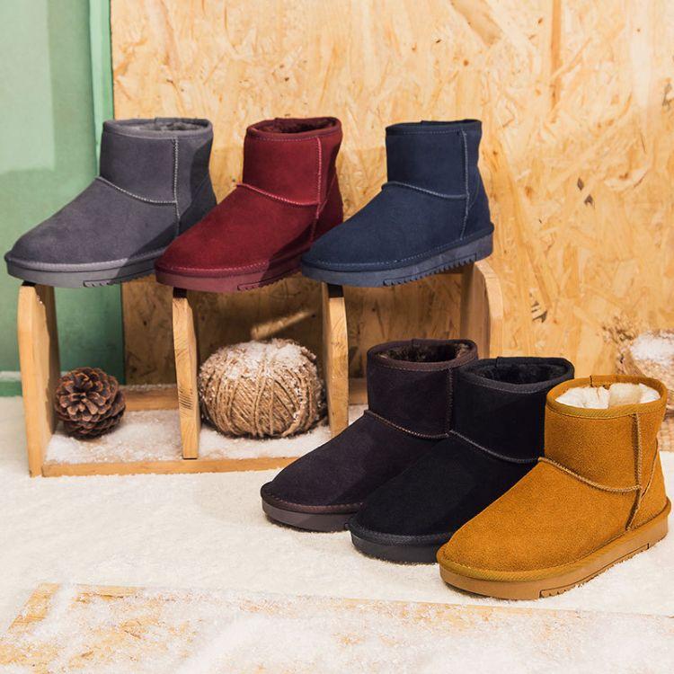 5854情侣款雪地靴女真皮加绒加厚2018冬季新款短筒雪地棉鞋短靴子