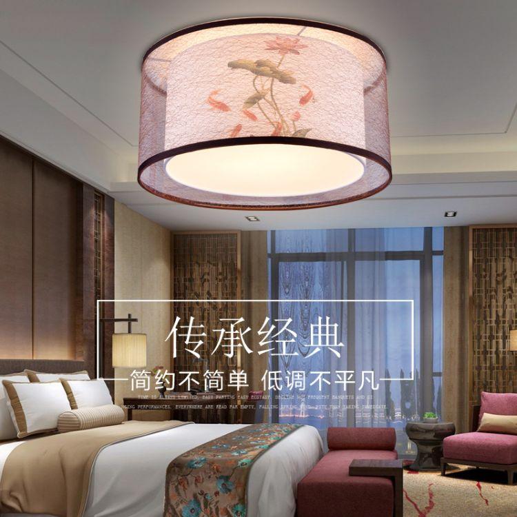 现代新中式吸顶灯圆形卧室灯简约阳台餐厅布艺吸顶灯书房中式灯具